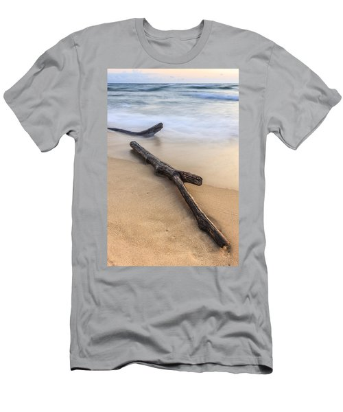 Men's T-Shirt (Athletic Fit) featuring the photograph Lake Michigan Beach Driftwood by Adam Romanowicz