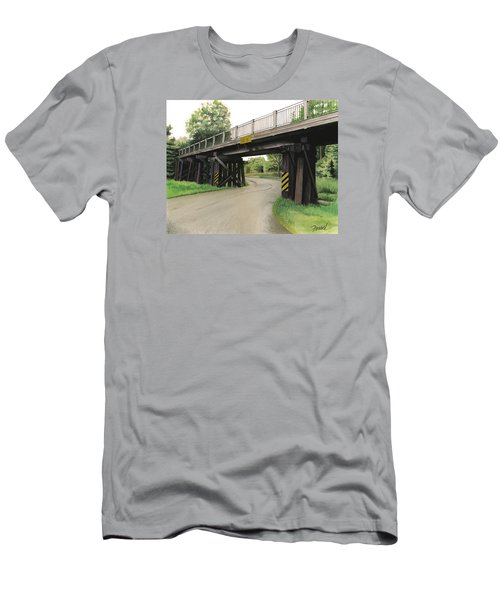 Men's T-Shirt (Slim Fit) featuring the painting Lake St. Rr Overpass by Ferrel Cordle