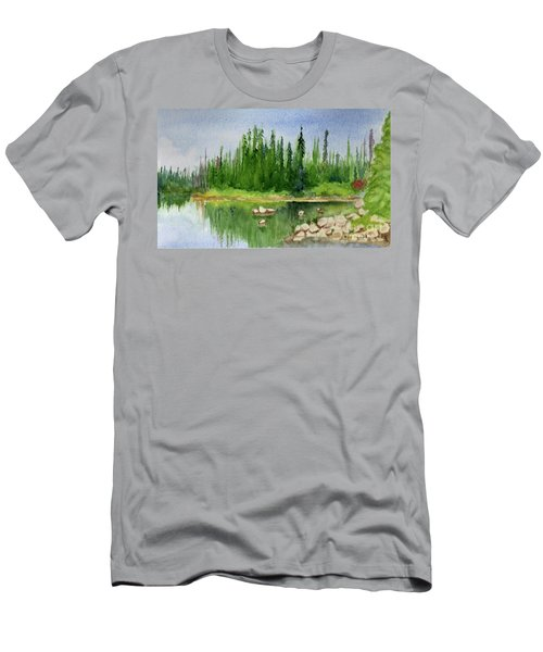 Men's T-Shirt (Slim Fit) featuring the painting Lake View 1-2 by Yoshiko Mishina