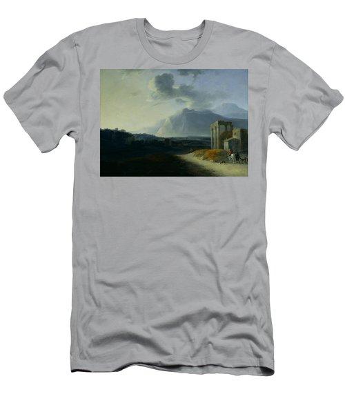 Landscape With Mount Stromboli Men's T-Shirt (Athletic Fit)