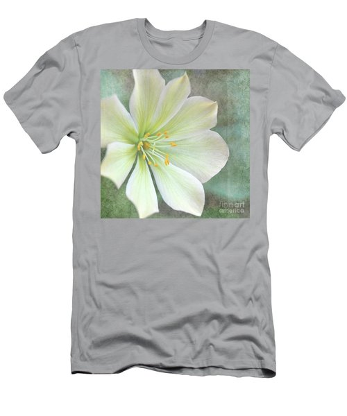 Men's T-Shirt (Slim Fit) featuring the pyrography Large Flower by Lyn Randle