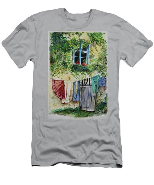 Men's T-Shirt (Athletic Fit) featuring the painting Laundry Day In France by Jan Dappen