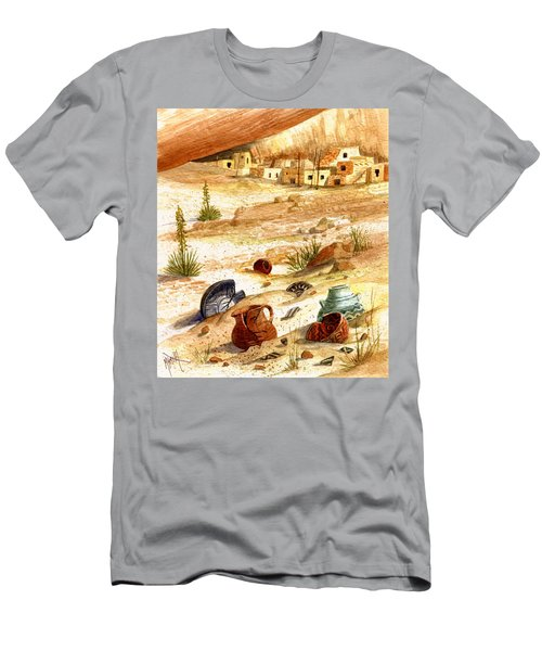 Men's T-Shirt (Slim Fit) featuring the painting Left Behind - Indian Pottery by Marilyn Smith