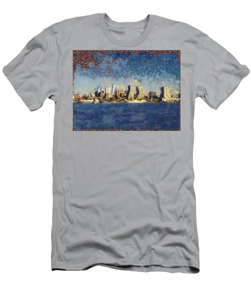 Men's T-Shirt (Slim Fit) featuring the mixed media Less Wacky Philly Skyline by Trish Tritz