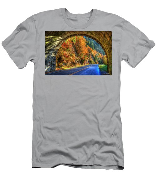 Men's T-Shirt (Athletic Fit) featuring the photograph Light At The End Of The Tunnel Blue Ridge Parkway Art by Reid Callaway
