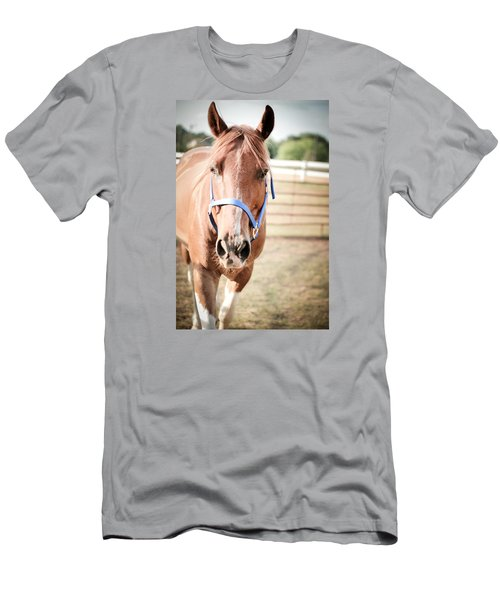 Men's T-Shirt (Slim Fit) featuring the photograph Light Brown Horse Named Flash by Kelly Hazel