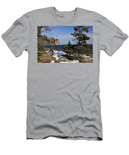 Men's T-Shirt (Slim Fit) featuring the photograph Lighthouse Framed by Larry Ricker
