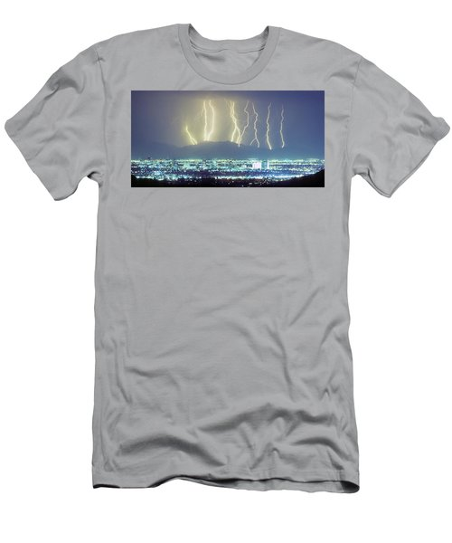 Men's T-Shirt (Athletic Fit) featuring the photograph Lightning Over Phoenix Arizona Panorama by James BO Insogna