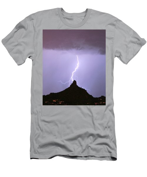 Lightning Striking Pinnacle Peak Scottsdale Az Men's T-Shirt (Athletic Fit)