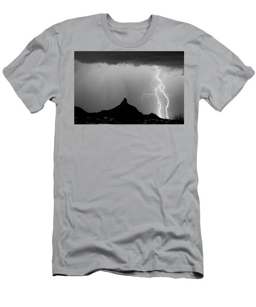 Lightning Thunderstorm At Pinnacle Peak Bw Men's T-Shirt (Athletic Fit)