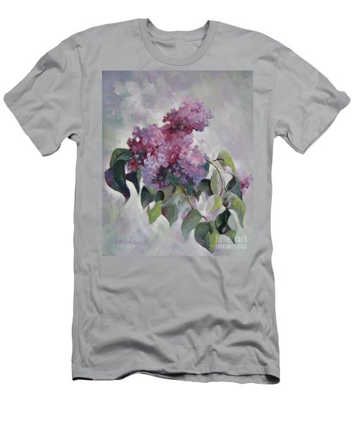 Men's T-Shirt (Slim Fit) featuring the painting Lilac by Elena Oleniuc