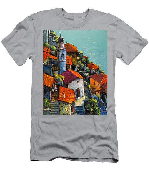 Men's T-Shirt (Slim Fit) featuring the painting Limone Del Garda by Mikhail Zarovny