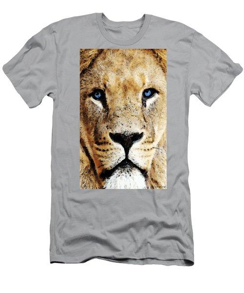 Lion Art - Blue Eyed King Men's T-Shirt (Athletic Fit)