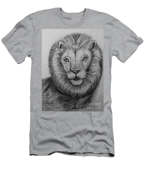 Men's T-Shirt (Slim Fit) featuring the painting Lion by Brindha Naveen