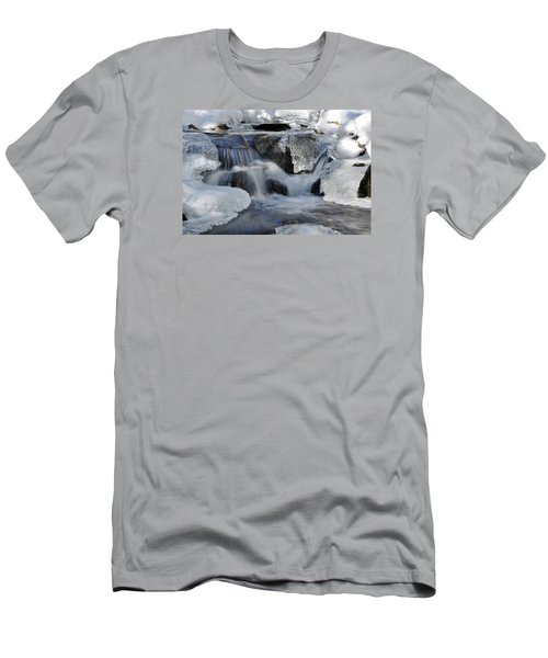 Men's T-Shirt (Slim Fit) featuring the photograph Winter Waterfall In Maine by Glenn Gordon