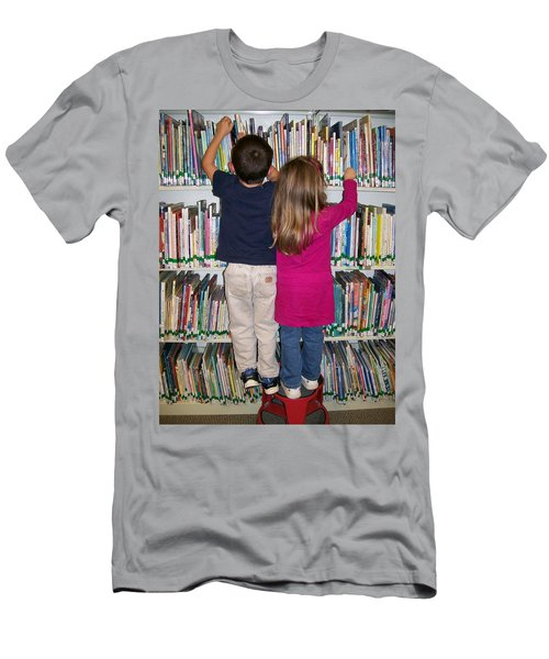 Men's T-Shirt (Slim Fit) featuring the digital art Little Bookworms by Barbara S Nickerson