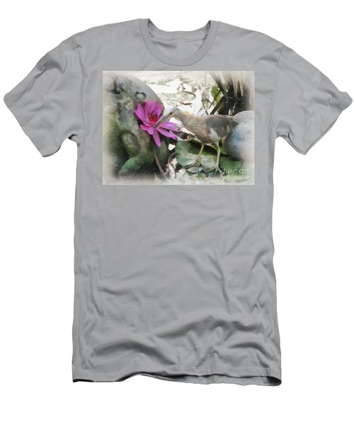 Men's T-Shirt (Slim Fit) featuring the painting Little Egret by Sergey Lukashin