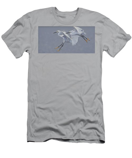 Little Egrets In Flight Men's T-Shirt (Athletic Fit)