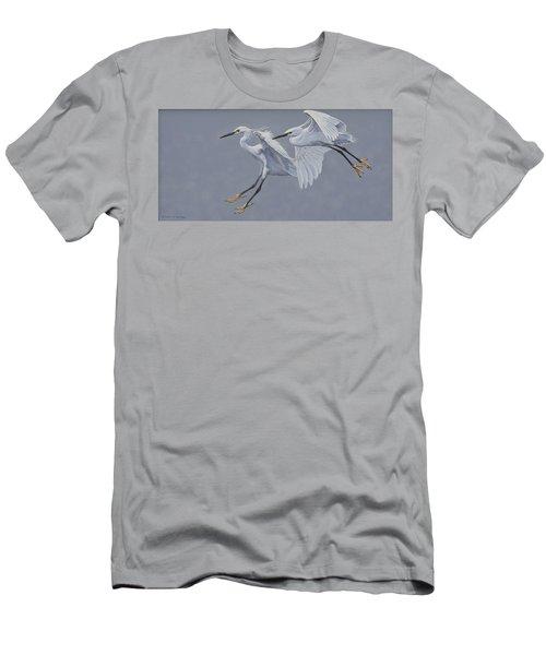 Little Egrets In Flight Men's T-Shirt (Athletic Fit)