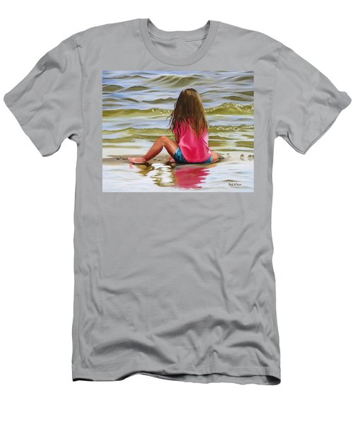 Little Girl In The Sand Men's T-Shirt (Athletic Fit)