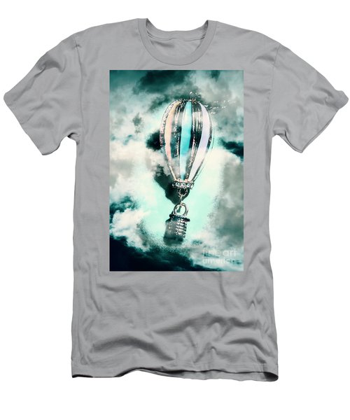 Little Hot Air Balloon Pendant And Clouds Men's T-Shirt (Athletic Fit)