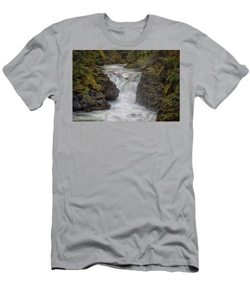 Little Qualicum Lower Falls Men's T-Shirt (Slim Fit) by Randy Hall