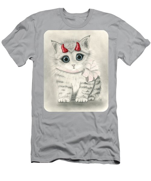Men's T-Shirt (Athletic Fit) featuring the drawing Little Red Horns - Cute Devil Kitten by Carrie Hawks