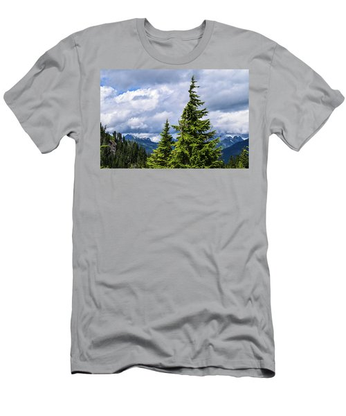 Lone Fir With Clouds Men's T-Shirt (Athletic Fit)