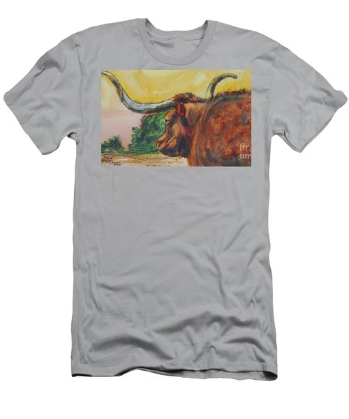 Men's T-Shirt (Slim Fit) featuring the painting Lonesome Longhorn by Ron Stephens