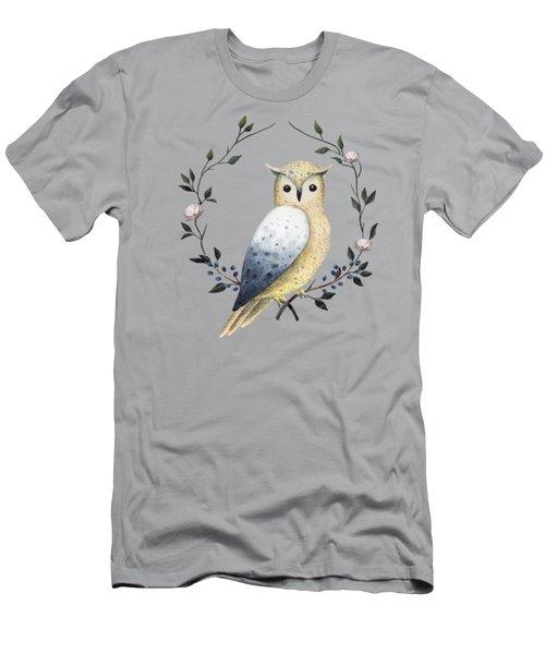 Long Eared Owl On A Laurel Men's T-Shirt (Athletic Fit)