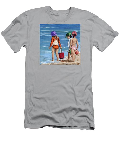 Looking For Seashells Children On The Beach Figurative Original Painting Men's T-Shirt (Slim Fit) by Linda Apple