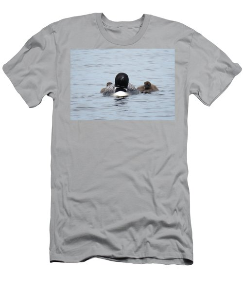 Loon With Chicks Men's T-Shirt (Athletic Fit)