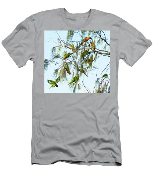 Lorikeets Swarming From Tree To Tree Men's T-Shirt (Athletic Fit)