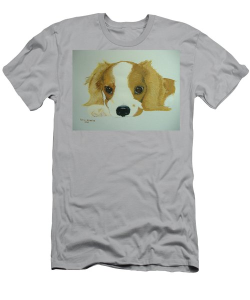 Men's T-Shirt (Slim Fit) featuring the painting Lovable Puppy by Norm Starks