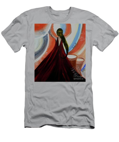 Love To Dance Abstract Acrylic Painting By Saribelleinspirationalart Men's T-Shirt (Slim Fit) by Saribelle Rodriguez