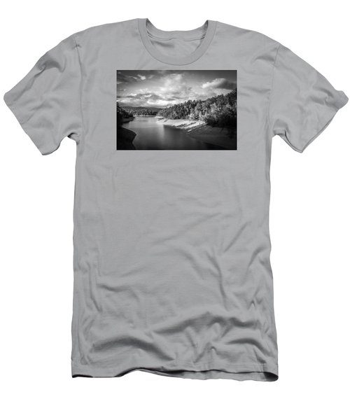 Men's T-Shirt (Slim Fit) featuring the photograph Low Sun Across The Nantahala River As The Clouds Clear Away by Kelly Hazel