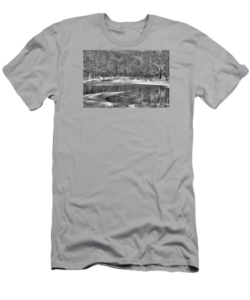 Men's T-Shirt (Slim Fit) featuring the photograph Loyalhanna Creek Bw - Wat0097 by G L Sarti