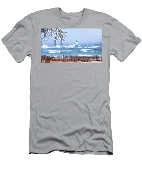 Ludington Winter Shore  Men's T-Shirt (Athletic Fit)
