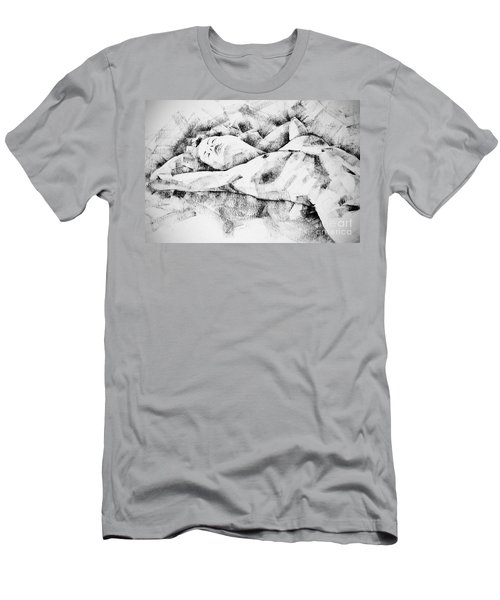 Lying Woman Figure Drawing Men's T-Shirt (Athletic Fit)