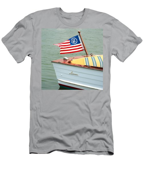 Vintage Mahogany Lyman Runabout Boat With Navy Flag Men's T-Shirt (Athletic Fit)