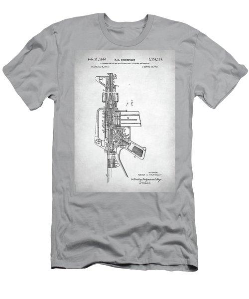 Men's T-Shirt (Slim Fit) featuring the digital art M-16 Rifle Patent by Taylan Apukovska