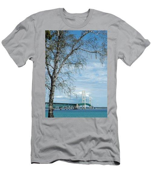 Mackinac Bridge Birch Men's T-Shirt (Athletic Fit)