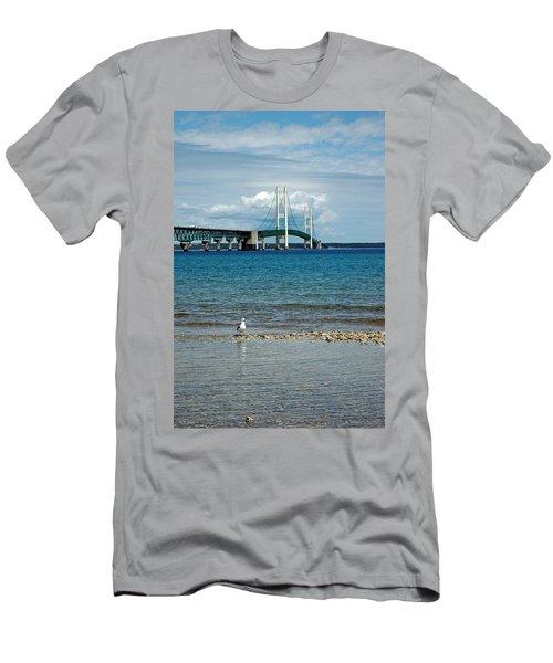 Men's T-Shirt (Slim Fit) featuring the photograph Mackinac Bridge Private Seagull Beach by LeeAnn McLaneGoetz McLaneGoetzStudioLLCcom