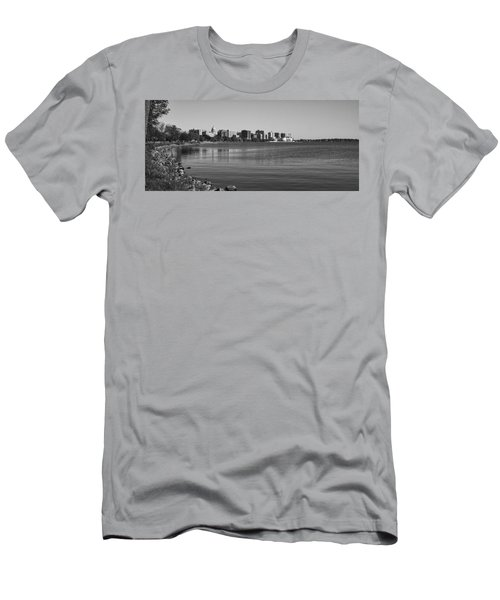 Madison Skyline From John Nolan Drive - Black And White Men's T-Shirt (Athletic Fit)