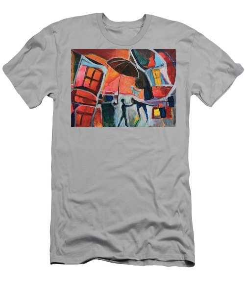 Men's T-Shirt (Slim Fit) featuring the painting Making Friends Under The Umbrella by Susan Stone
