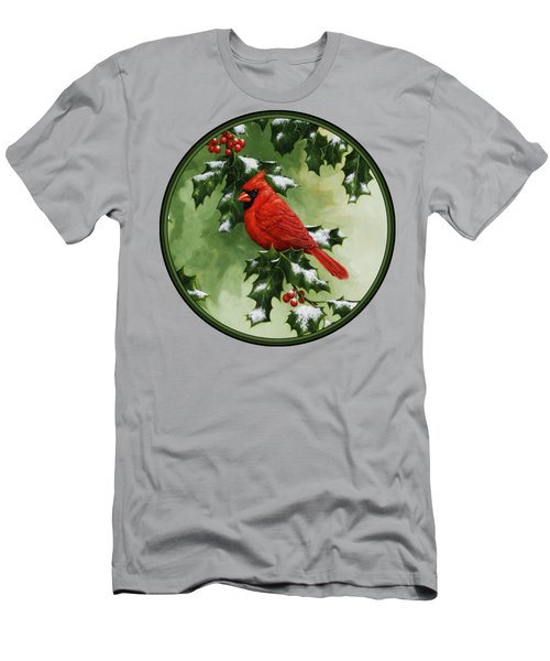 Male Cardinal And Holly Phone Case Men's T-Shirt (Athletic Fit)