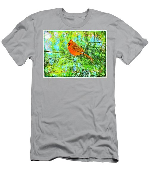 Male Cardinal In Juniper Tree Men's T-Shirt (Athletic Fit)