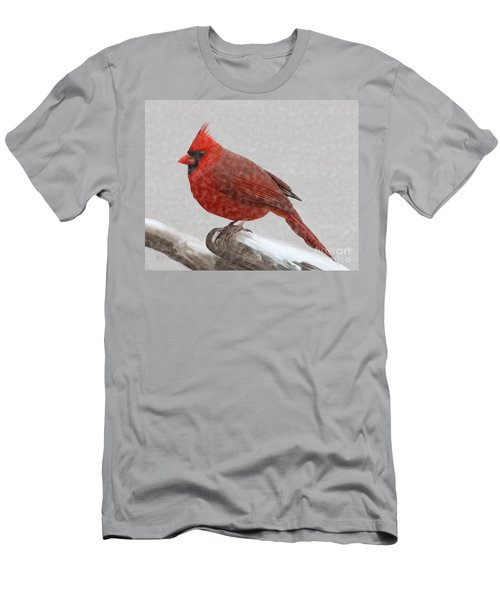 Male Cardinal In Snow Men's T-Shirt (Slim Fit) by Rand Herron