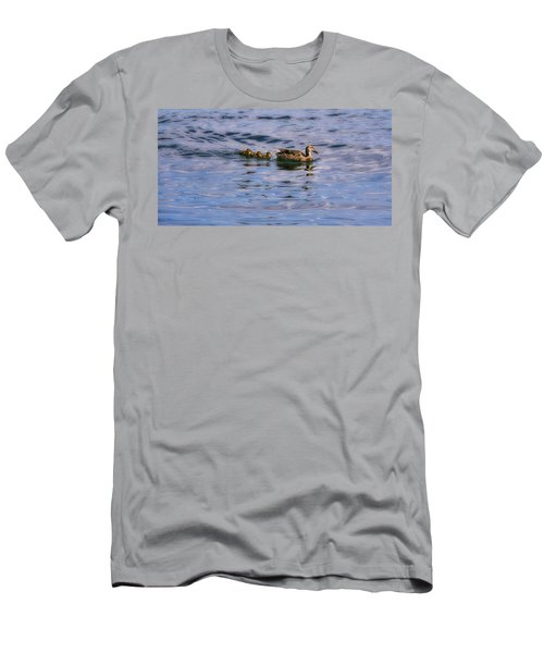 Mallard Duck And Ducklings Men's T-Shirt (Athletic Fit)