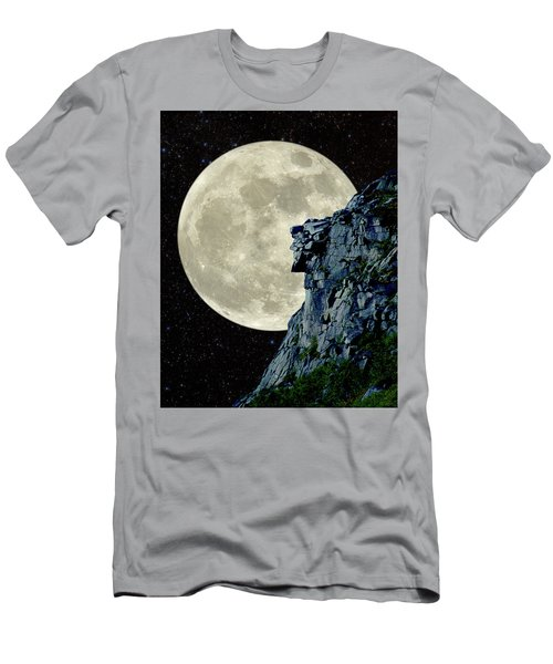 Man In The Moon Meets Old Man Of The Mountain Vertical Men's T-Shirt (Slim Fit) by Larry Landolfi